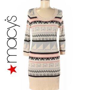 Tribal Print Scoop Neck Sweater Dress